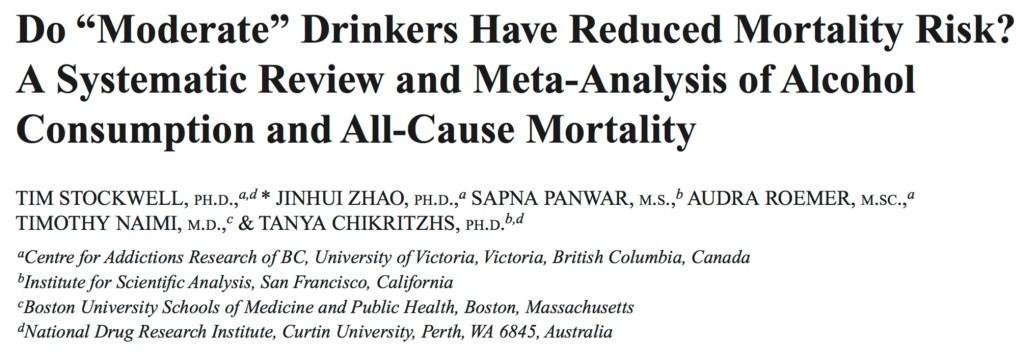 Addiction Alcool - Nouvelle méta-analyse: pas de bénéfices d'une faible conso d'alcool en termes de mortalité