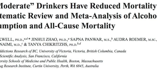 Nouvelle méta-analyse: pas de bénéfices d'une faible conso d'alcool en termes de mortalité