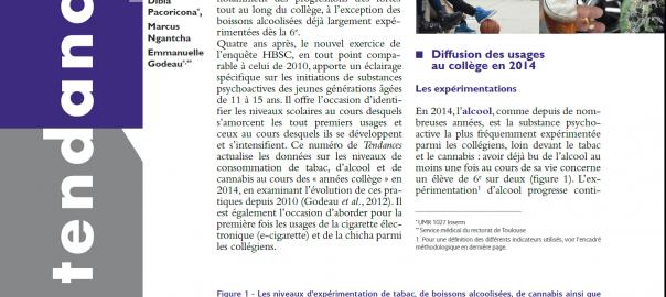 Enquête OFDT - Alcool, tabac et cannabis en 2014, durant les « années collège »