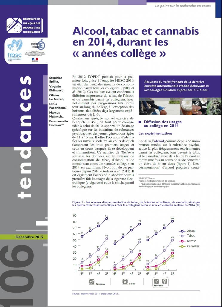 Addiction Alcool - Enquête OFDT - Alcool, tabac et cannabis en 2014, durant les « années collège »