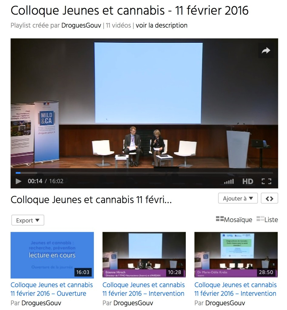 Addiction Cannabis - Videos du Colloque Jeunes et cannabis - 11 février 2016 MILDECA