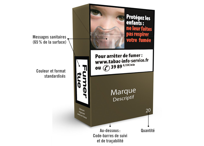 Addiction  - TABAC / le paquet neutre en vente