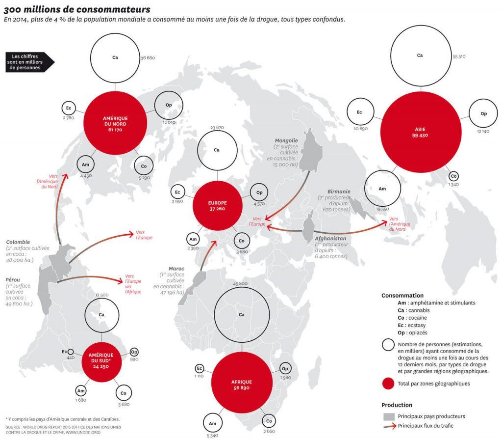 Addiction Autres drogues - Carte : Drogues : 300 millions de consommateurs